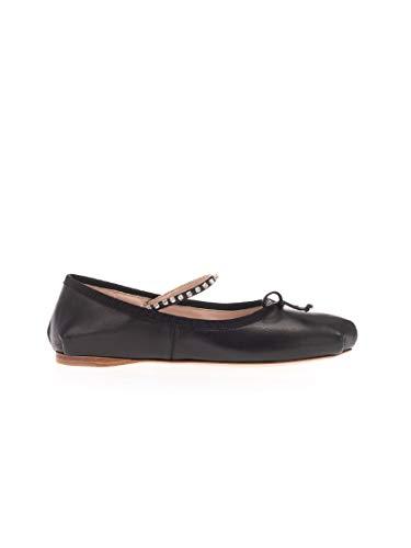Luxury Fashion | Miu Miu Dames 5F744CFB005038F0002 Zwart Leer Ballerina's | Lente-zomer 20