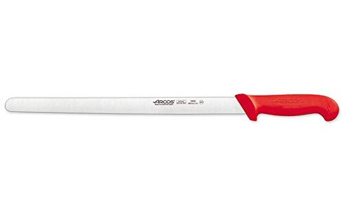 Arcos Serie 2900 - Caja 6 uds Cuchillo Fiambre Flexible - Hoja de Acero Inoxidable NITRUM de 350 mm - Mango inyectado en Polipropileno Color rojo (6 UDS)