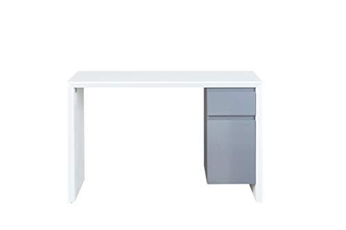 Inter Link Schreibtisch Arbeitstisch Computertisch MDF Weiss Hochglanz und Grau