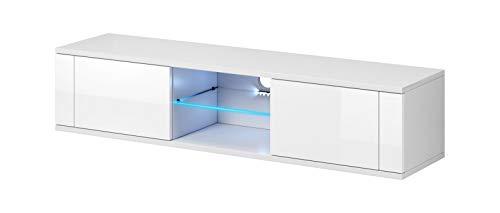 Vivaldi Hit - Mobile per TV bianco opaco e bianco lucido Illuminazione a Led blu.