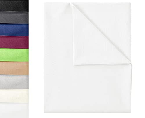GREEN MARK Textilien Klassische Bettlaken   Betttuch   Laken   Leintuch   Haustuch 100% Baumwolle ohne Gummizug vielen Größen und Farben Größe: 180x275 cm, weiß