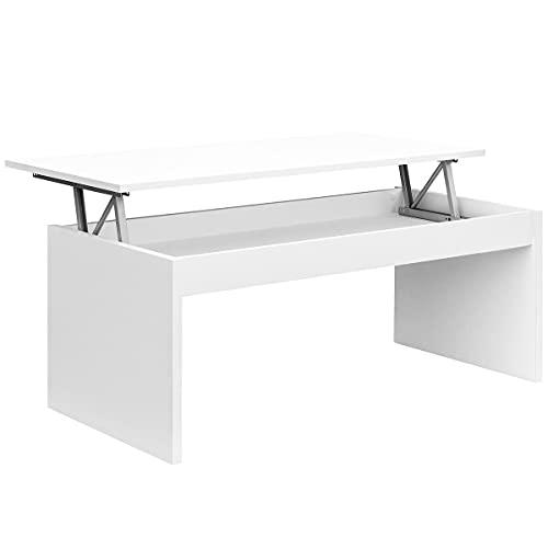 COMIFORT Mesa Centro Elevable - Mesa Salón Funcional con Gran Almacenaje, Moderna, Elegante, Muy Resistente, 2 Patas, Color Blanco