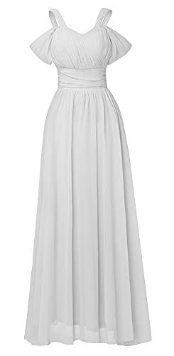 Snow Lotus Vestido de dama de honor de gasa con hombros descubiertos para mujer, correa de espagueti, vestido largo de noche