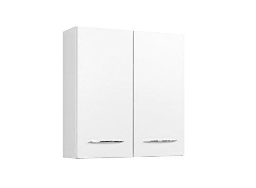 lifestyle4living Badezimmerschrank in Weiß, breit | Hängeschrank mit 2 Türen und 2 Einlegeböden