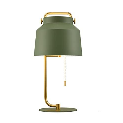 lámpara de mesita Lámparas de mesa industriales Lámpara de pie Lámpara de lectura de noche con polo de latón alto para salas de estar Dormitorios Tirar cadena Negro Verde Luz Nocturna ( Color : A )