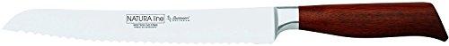 Burgvogel Solingen Natura Line, Brotmesser für Linkshänder Holzgriff, rot satiniert, geschmiedet, 23 cm mit Wellenschliff, rostfrei, sehr scharf, Made in Germany