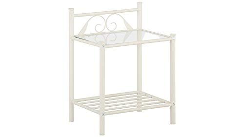 Loft24 A/S Nachttisch Metall Creme weiß 44 x 35 x 58 cm Nachtkonsole Nachtschrank
