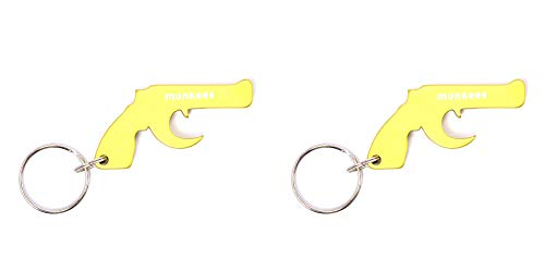 munkees 2 x Schlüsselanhänger Pistole mit Flaschenöffner Aluminium, Schlüsselring, Grün, Doppelpack, 347059