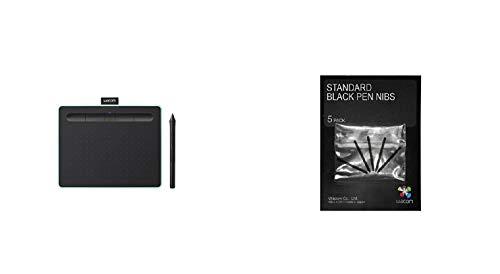 Wacom Intuos S Pistazie Stift-Tablett-Mobiles Zeichentablett (zum Malen & Fotobearbeitung mit druckempfindlichem Stift & Bluetooth & 2 Softwaredownloads) & Standard Stiftspitzen, schwarz 5-TLG.