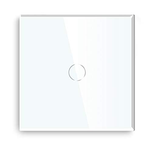 BSEED interruptor tactil 1 Gang 1 Vía interruptor táctil de pared Blanco con indicador LED,Interruptor Táctil de Luz pared con panel de vidrio templado