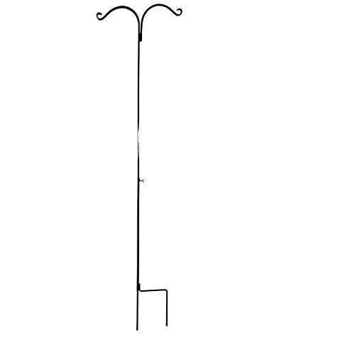 Ashman 91 Inch Adjustable Shepherds Hook with Twin Hooks 5/8 Inches Thick, Super Strong, Rust Resistant Steel Hook for Hanging Plant Baskets, Bird Feeders, Lanterns, Wind Chimes and use at Weddings