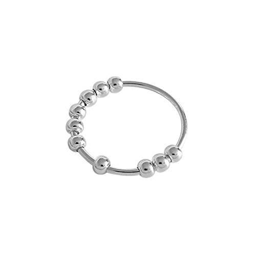 Anillos de ansiedad para mujeres y hombres, anillo de cuentas de plata de ley, anillo giratorio para aliviar el estrés, anillos de ansiedad simples de plata de ley S990 (diámetro: 12)