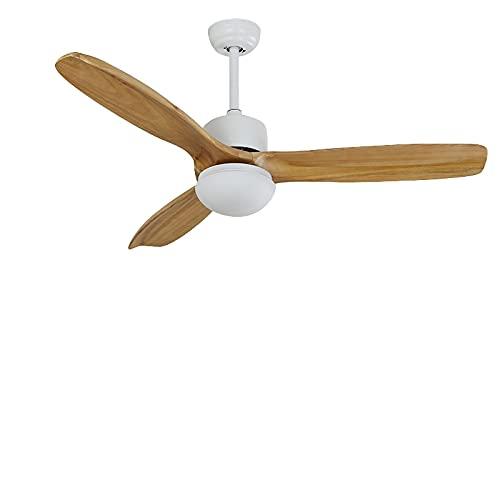 Yaseking Ventiladores de techo de madera para sala de estar de cobre puro ventilador de techo con luz 42 52 pulgadas cuchillas control remoto ventilador de teto (Blade Color : White)