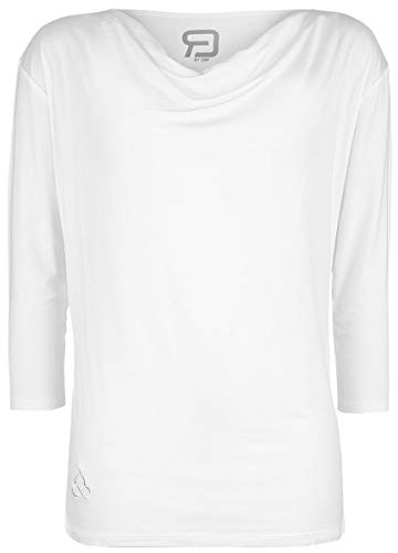 R.E.D. by EMP Sport und Yoga - weißes Longsleeve mit Wasserfallausschnitt Mujer Camiseta Manga Larga Blanco Roto XXL