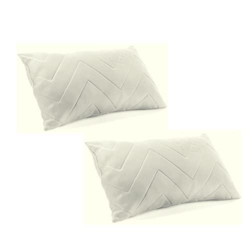 Pack de 2 Almohadas con Copos de viscoelástica 120 cm, Almohada de Cama, Tejido Strech Transpirable, Funda Color Blanco, Almohada Suave, firmeza Media Baja, Ofertas Confort