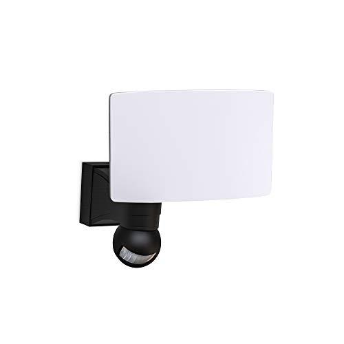 B.K.Licht - Aplique LED con sensor de movimiento para exteriores, jardín, terraza o patio, con cabeza inclinable, de luz blanca fría, protección IP44, 20 W y 2300 lúmenes, 4000K, color negro