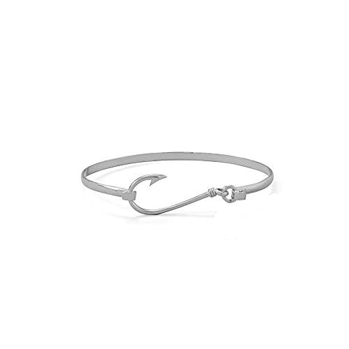 Pulsera apilable de plata de ley 925 chapada en rodio con diseño de animales Sealife con gancho de pescado, 3 mm de ancho, ligeramente abovedado, regalo para mujeres