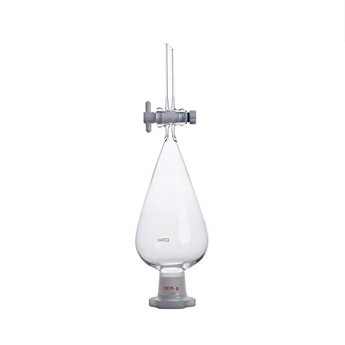 LabZhang Glass Separatory Funnel 60ml,Borosilicate Glass,with 19/26 Joints and PTFE Stopcock, Heavy Wall Conical Glass Separatory Funnel (60ml)