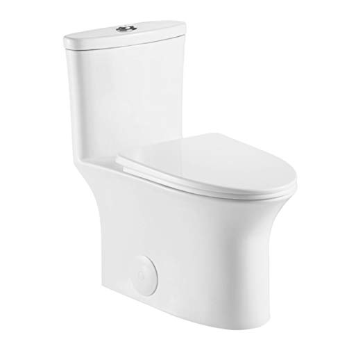 Kingsman Contemporary Durable Comfort Modern Design Toilet Bowl & Tank, One Piece Dual Flush 1.2/1.6 GPF With Soft Closing Toilet Seat, Elongated Toilet MJ128 - Pure White
