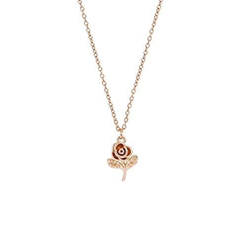 YQMJLF Collar Moda Accesorios Collares Mujer Dulce y Simple Retro Collar Flores Color Rosa Cadena clavícula Temperamento Colgante Todo fósforo Collar Femenino señoras Joyas Navidad Regalo