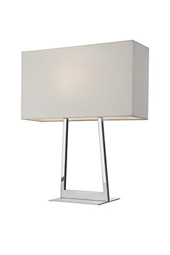 Villeroy & Boch Lyon Tischleuchte, Metall, 60 W, Silber/Weiß, H 52 cm, 14 x 45 cm