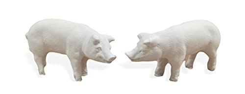 2 Cerditos de pie. Animales para el Nacimiento Portal de Belén. Navidad. Todo Tipo de Animales por Parejas o Individuales. Material de Escayola (CERDITOS)