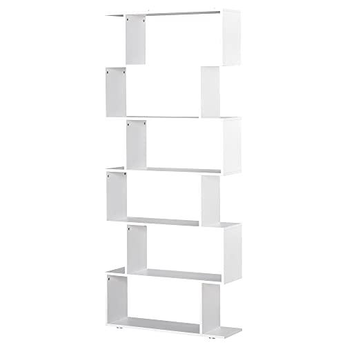 homcom Libreria di Design Mobili Ufficio Scaffale in Legno 80x24x191cm Bianco
