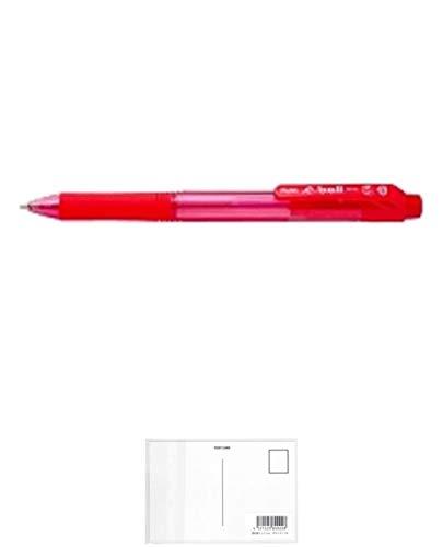ぺんてる 油性ボールペン ドットイー BK130-B 1.0赤 10本 + 画材屋ドットコム ポストカードA