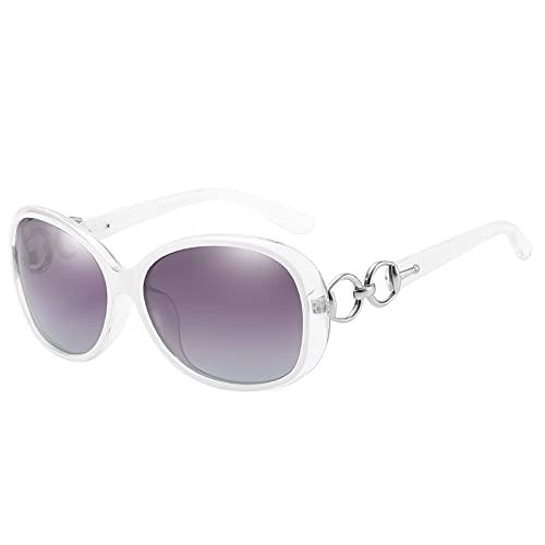 PSFF Gafas de Sol polarizadas Blancas, protección UV400, Gafas de Sol de conducción de Marco Oval Retro, Gafas al Aire Libre White