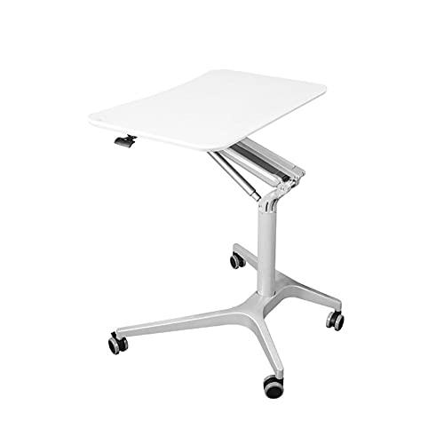 Carro de escritorio de pie para ordenador portátil, con ruedas, escritorio plegable de altura ajustable para casa, oficina, sala de estar, dormitorio