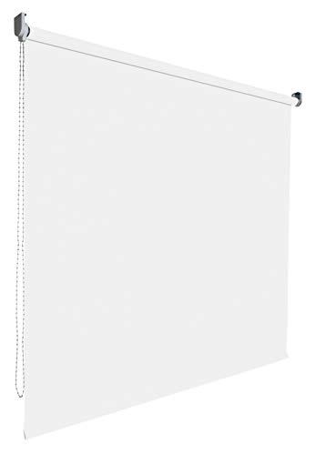 Kettenzugrollo Seitenzugrollo Tür Fenster Rollo Vorhang 14 Farben Breite 62 bis 202 cm Länge 180 cm lichtdurchlässig halbtransparent Metall Träger Wandmontage Deckenmontage (202 x 180 cm / Weiß)
