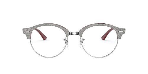 Ray-Ban RX4246V Clubround Round Prescription Eyeglass Frames, Top Wrinkled Grey On Brown/Demo Lens, 47 mm