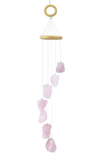 CozyCabin Crystal Rose Quartz Wind Chimes, Natural Raw Stones Wall Hanging Windchime Decorative Ornament Gift for Home Garden Patio Outdoor(Pink)
