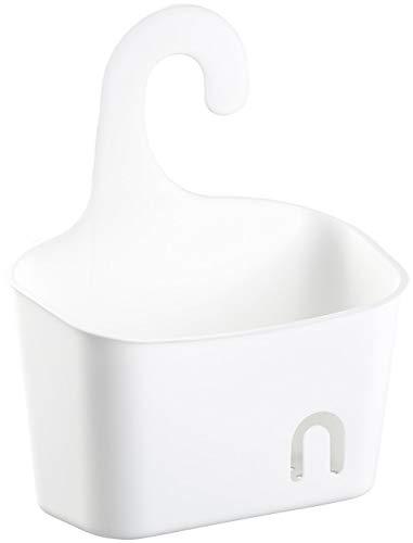 BadeStern Duschkorb Kunststoff: Duschkorb mit Aufhänge-Haken und Ablaufgitter, erweiterbar, weiß (Schwammhalter)
