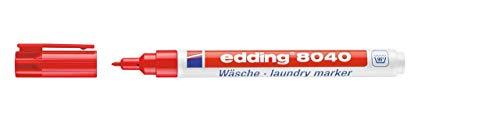 edding 4-8040002 Wäschemarker Permanentes Beschriften von Textilien und Kleidung - Waschfest und kochfest bis 95 Grad Celsius, rot
