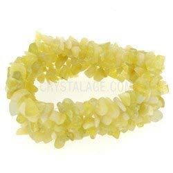 CrystalAge Pulsera de piedras preciosas de jade limón
