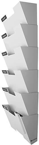 Nozzco Soporte de pared que cuelga del archivo del organizador del sostenedor del estante de acero durable, sólido, robusto y ancho de cartas, 6 unidades Blanco
