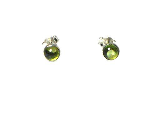 Rund Peridot Sterling Silber 925Ohrringe/Ohrstecker–5mm–(pdst2212161)