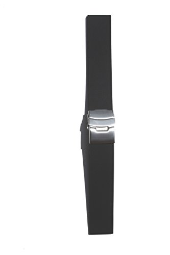 22mm Black Plain Smooth Rubber/Silicone Watchband with S/S Buckle