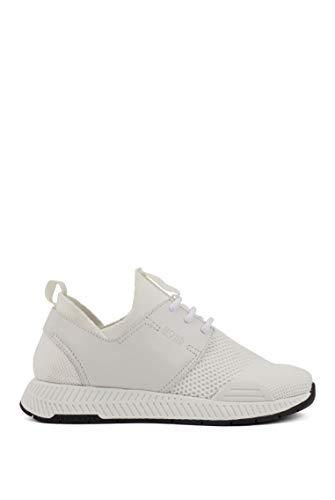 BOSS Damen Titanium Runn Unisex-Sneakers aus Stretch-Strick mit Ledereinsätzen Größe 41