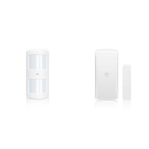 CHUANGO PIR-910 - Sensor/detector de movimiento PIR inmune a mascotas hasta 25 kg, detección 110º, color blanco + DWC-102 - Alarma para el hogar
