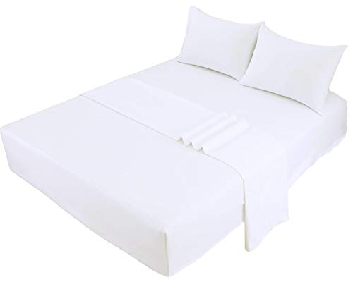 Bed Sheet Set Cotton Queen White 100% Cotton Sateen 300 Thread Count 4 Pieces Set Fitted , Flat , 2 Pillow Cases Premium Hotel Quality Long Staple Anti Shrink Deep Pocket (White Cotton, Queen)