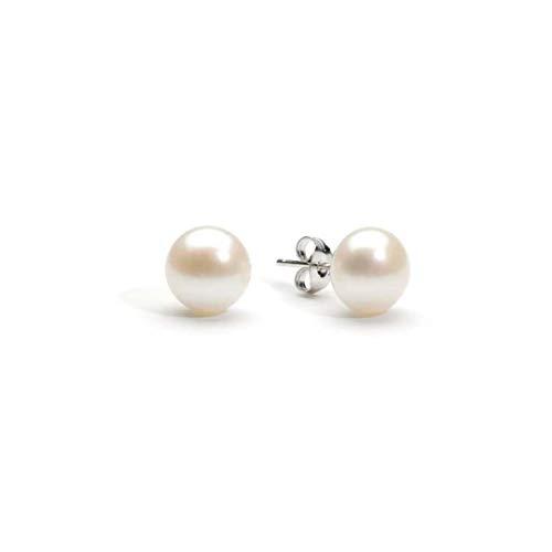 LORENS 2 paia orecchini di perla Swarosvski 8mm, anallergico,con elegante scatola di gioielli.Regali per lei