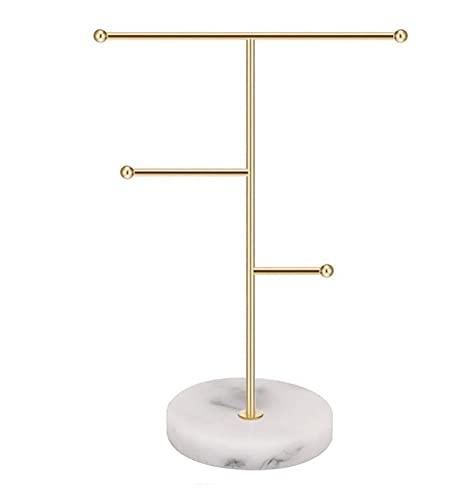 IWILCS Schmuckständer Gold Marmor, Schmuckhalter Gold, Gold Schmuckbaum - aus Metall Marmor & T-Bar, für Halsketten Armbänder Ohrringe Zubehör (18.5x7.8x26cm)