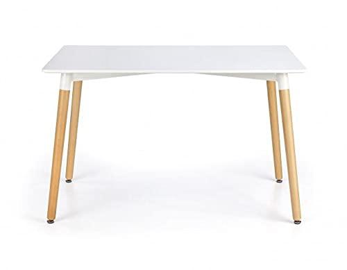 Mesa de MDF y madera solapas, color blanco y haya, 120 x 80 x 74 cm