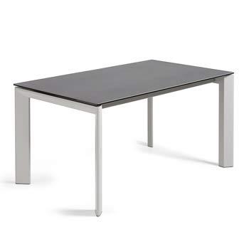 Kave Home - Mesa de comedor extensible Axis rectangular 160 (220) x 90 cm de porcelana Vulcano Roca con patas de acero en color gris.