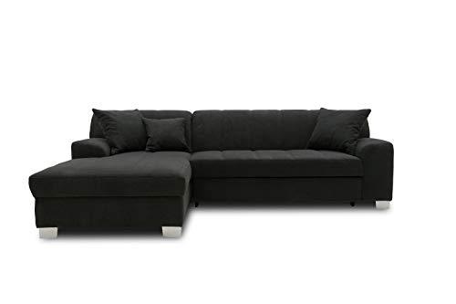 DOMO collection Capri Ecksofa | Eckcouch in L-Form mit Schlaffunktion, Polsterecke Schlafsofa, schwarz, 239x152x75 cm