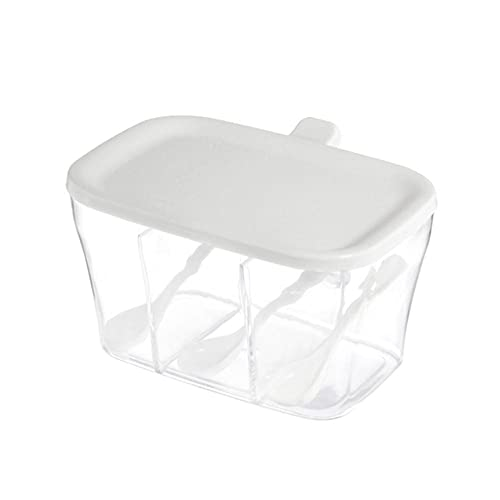 Frascos de especias Caja de condimentos Caja de almacenamiento de especias para especias Azúcar Sal Frasco de condimentos Recipiente de almacenamiento de cocina con cuchara 3 compartimentos-Blanco