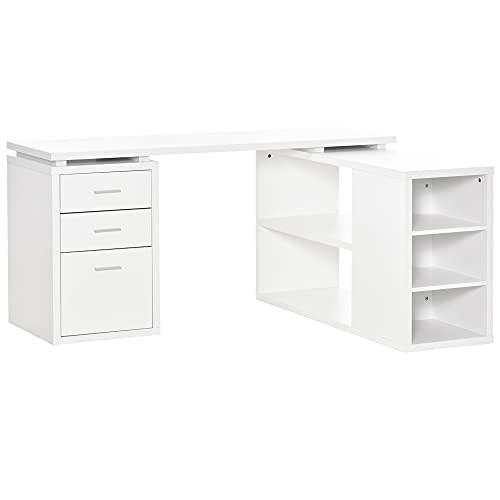 HOMCOM L-Shaped Computer Desk Home Office Corner Desk Study Workstation Table with Storage Shelves, Filing Cabinet with Hanging File Folders, White