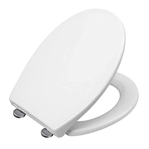 Toilettendeckel,O-förmiger weißer Toilettensitz,Oval WC Sitz mit Quick-Release Funktion und Softclose Absenkautomatik,Home Toilettensitz Toilettenkreis Länge 41-44cm, Breite 36cm, Lochabstand 11-17cm